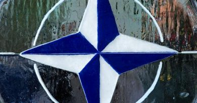 The NATO/OTAN logo in Norfolk, Virginia in 2012. (Paul J. Richards / AFP)