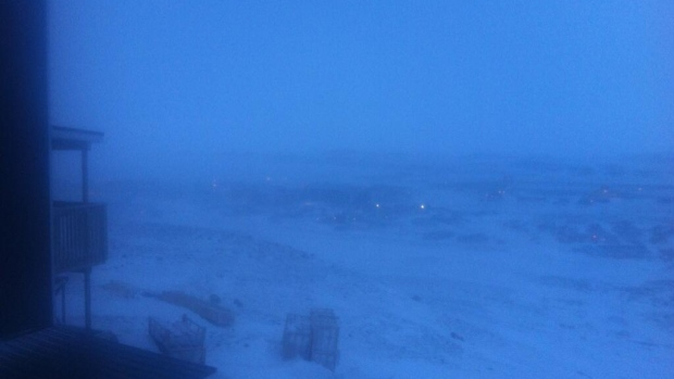 The view this morning from Iqaluit's plateau subdivision. Strong winds and blowing snow continue this morning after a violent overnight storm with winds gusting to 141 km/h. Winds are expected to ease towards noon. (Anubha Momin)