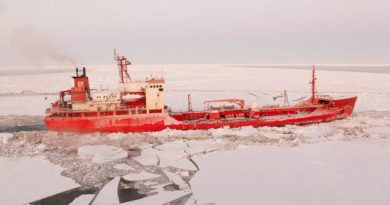 The Renda makes its way through Bering Sea ice, bringing winter fuel to Nome in 2012. The slight growth in Bering Sea ice between 1979 and 2012 stands in contrast to the substantial loss of summer sea ice in the Arctic Ocean, according to a new report. (U.S. Coast Guard / Alaska Dispatch)