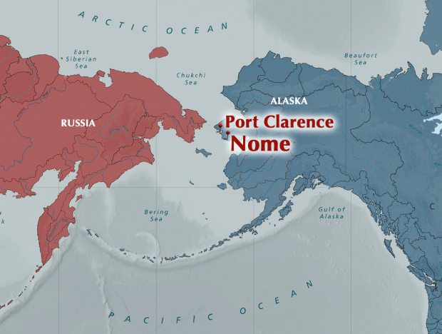 Port Clarence is one of several sited being examined by the U.S. Army Corps of Engineers for a possible deepwater port serving the Arctic. An Oregon-based company says it has developed a business plan for constructing a port there. (Alaska Dispatch illustration)