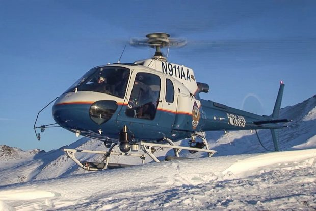 "Alaska State Troopers helicopter ""Helo-1,"" pictured here, crashed in March of 2013, killing decorated trooper pilot Mel Nading, along with trooper Tage Toll and snowmachiner Carl Ober. (Courtesy Alaska State Troopers / Alaska Dispatch)"