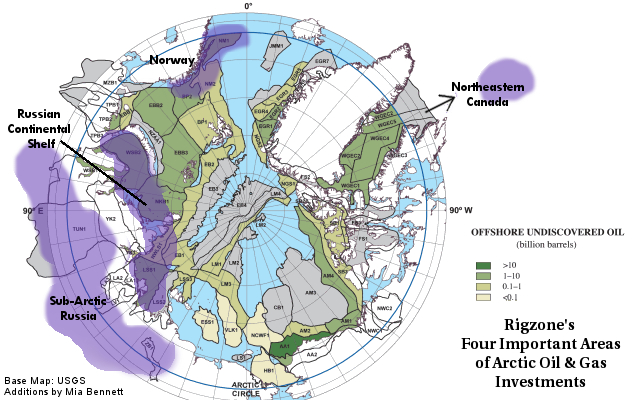 Map of the four areas Rigzone identifies as important areas of Arctic oil and gas investment. Norway, Russian Arctic shelf, sub-Arctic Russia, and northeastern Canada.
