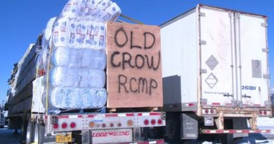 One of the trucks about to head to Old Crow, Yukon, on the winter road. (CBC)