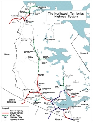 The Sahtu winter road (green line in centre) follows the Mackenzie River to connect the gravel highway from Wrigley all the way to Norman Wells, Fort Good Hope and Deline. For a larger map of the N.W.T. winter road system, click the link on the left. (Map from CBC.ca)