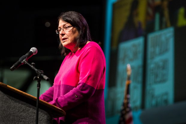 Alaska Federation of Natives President Julie Kitka, pictured here at the 2013 AFN Convention, says there is no evidence to suggest the proposed changes to the Alaska Judicial Council are necessary. (Loren Holmes / Alaska Dispatch)