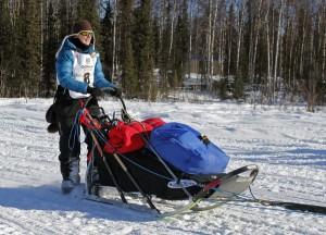Yvonne Dabakk leaves Willow at the 2014 Iditarod restart. (Josh Edge, APRN – Anchorage)