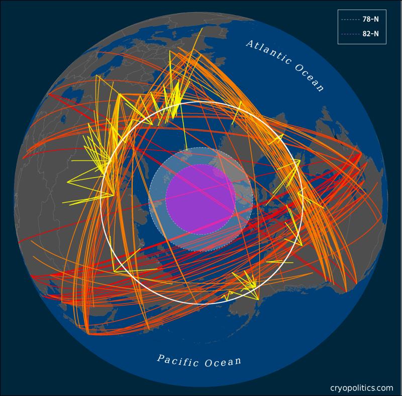 Figure 1: Flights crossing the Arctic Circle.