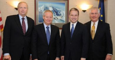 From the left: BP CEO Robert Dudley, then-ConocoPhillips CEO Jim Mulva, Alaska Gov. Sean Parnell, and ExxonMobil CEO Rex Tillerson met in January 2012. (Courtesy Alaska Governor's Office / Alaska Dispatch)
