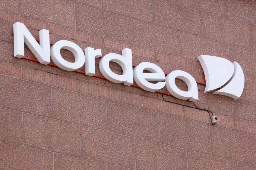 Nordea logo on an office facade in Helsinki, Finland.  Nordea has more than 1,400 branches and is present in 19 countries around the world, operating mainly in northern Europe. (iStock)