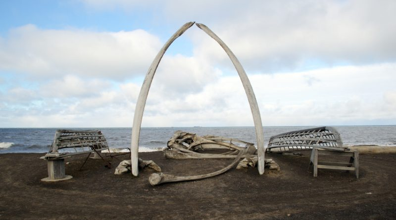 Whale bones and whaling boats frames a view of the Chukchi Sea in Arctic Alaska. (iStock)