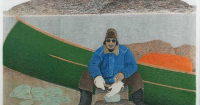 'Carving with an axe,' 2006, Itee Pootoogook, coloured pencil & graphite, 22 x 29.75 (Courtesy of Marion Scott Gallery)