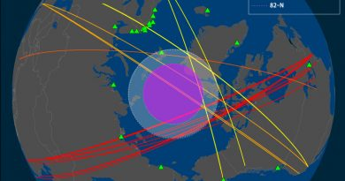 Cross-polar flights vis-à-vis locations in the Arctic and sub-Arctic (broadly construed; note the southern distance of the locations in Canada) with capabilities to assist in Arctic SAR operations. (Cryopolitics)
