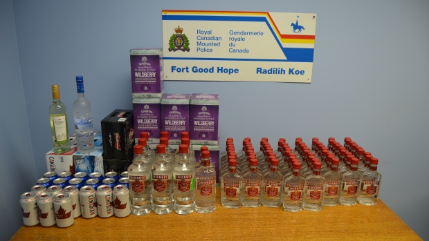 Fort Good Hope RCMP seized 74 – 375 ml bottles of Smirnoff Vodka, 9 - 1.14 litre bottles of Smirnoff Vodka, 3 – 750 ml bottles of Smirnoff Vodka, 1 - 750 ml bottle of wine, 28 – 355 ml vodka coolers and 75 – 355 cans of beer in one night on the winter road from Norman Wells. (RCMP)