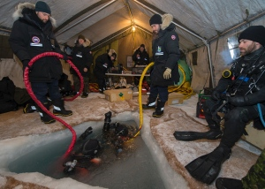 Canadian Armed Forces divers, working on the sea ice near Gascoyne Inlet, Nunavut, spent six days usingremotely operated underwater vehicles to capture footage from the merchant ship Breadalbane, which sank in the High Arctic in 1853. (Master Seaman Peter Reed, Underwater Imaging Dept. FDU (A), CFB Shearwater, N.S.)