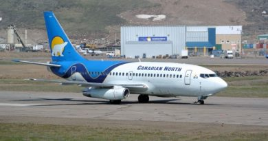 A Canadian North 737 taxis at the Iqaluit airport. The competition bureau has confirmed it will review a proposed merger between First Air and Canadian North. (CBC)