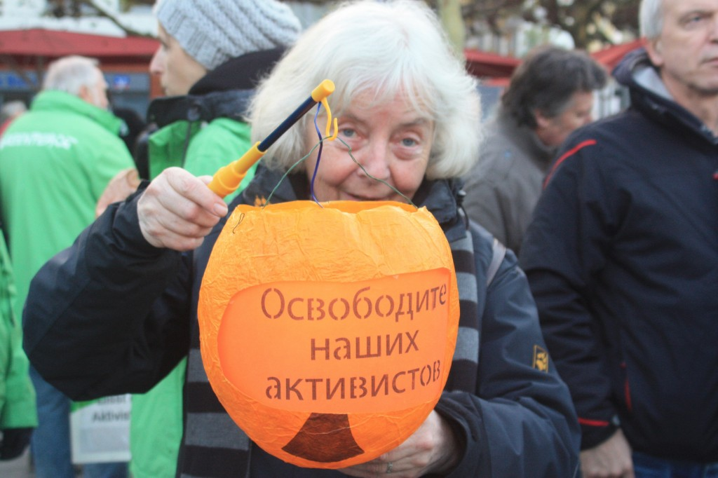 """The Russian detention of the """"Arctic 30″ led to international protests, as here in Bonn (I.Quaile)"""