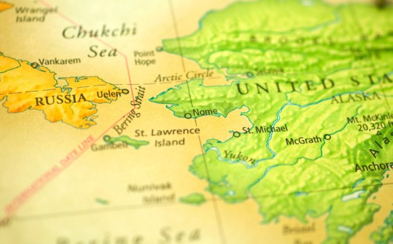 Map showing the Bering Strait. What is the future of shipping in the region? (iStock)