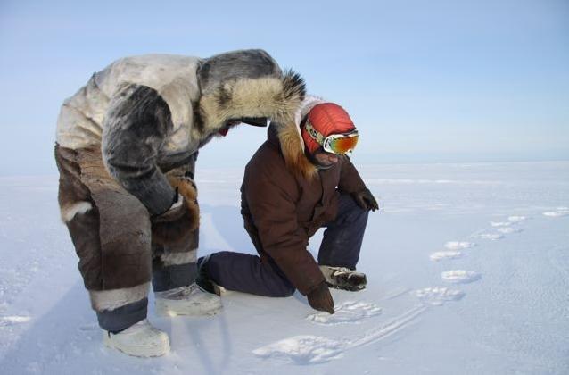 Inuit hunters tracking a polar bear on Baffin Island in Canada's eastern Arctic territory of Nunavut. (Levon Sevunts / Radio Canada International)