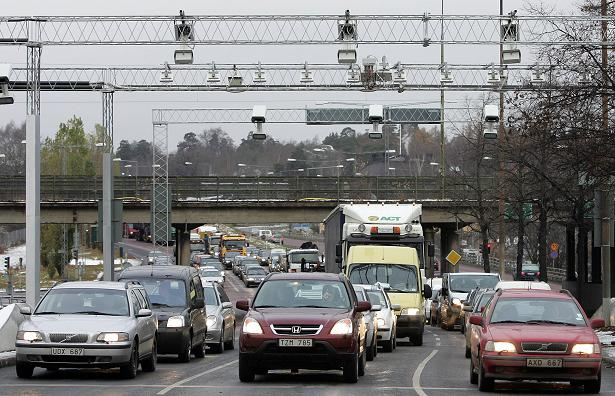 Traffic outside of Stockholm, Sweden. New budget measures include increased public transit and incentives to buy hybrid and electric cars. (Sven Nackstrand/AFP)