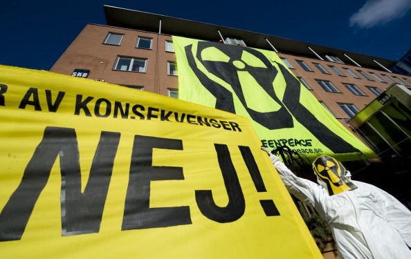 Greenpeace activists demonstrate on March 16, 2011 outside the Swedish Nuclear Fuel and Waste Management (SKB) office in Stockholm. (Jonathan Nackstrand/AFP/Getty Images)
