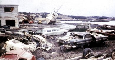The Alaska Earthquake on March 27, 1964. Tsunami damage pictured along the waterfront at Kodiak. (Photo by Education Images/UIG via Getty Images)