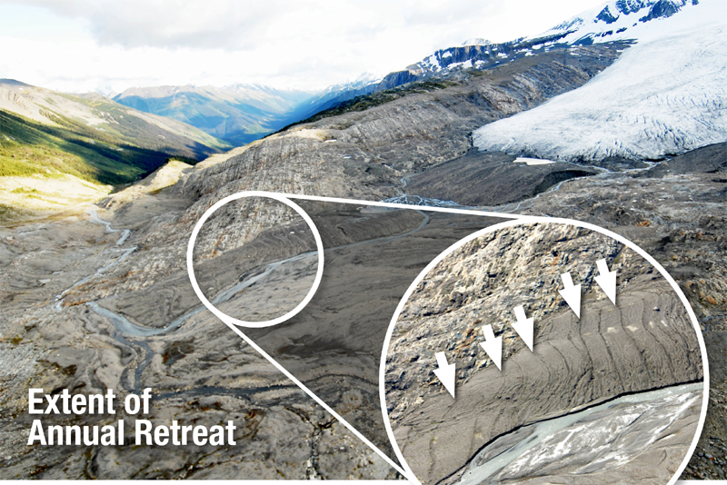 Photo showing the Castle Creek glacier retreating up the mountain-side. A unique feature is that it leaves small morraines showing the retreat each year, something like tree rings showing growth. (Courtesy University of Northern British Columbia)