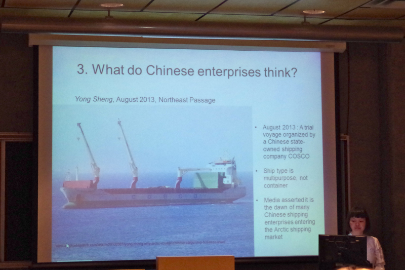Linyan Huang speaking about Chinese shipping interests. (Mia Bennett)
