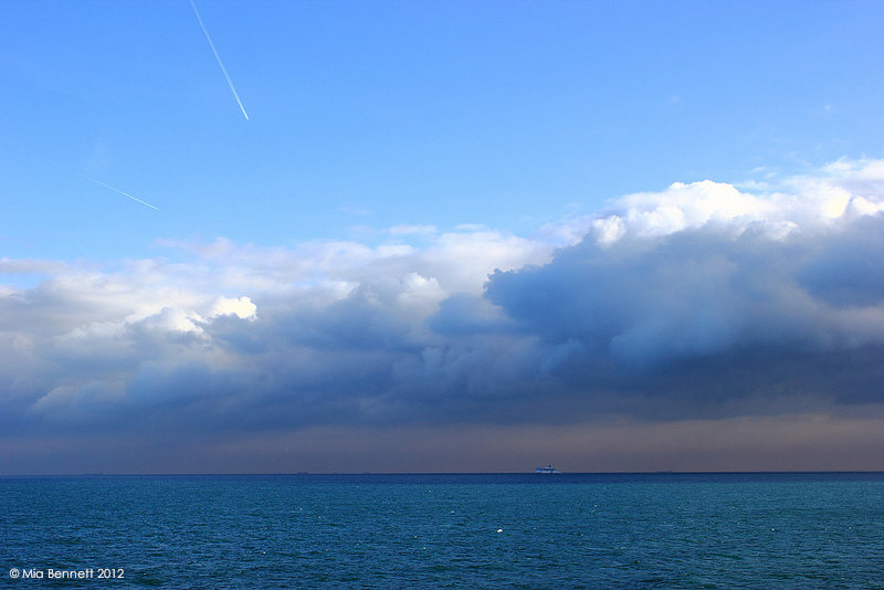 From the White Cliffs of Dover to the Great White North. Photo taken while crossing the English Channel, 2012. (Mia Bennett)