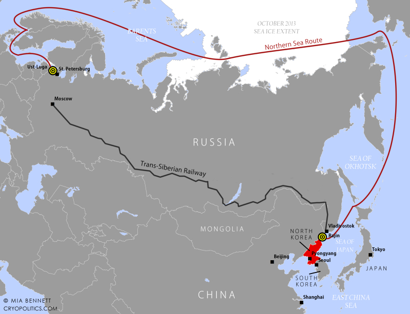 Map 1: The voyage taken by HHL Hong Kong from Ust-Luga, Russia to Rajin, North Korea in 2013. (Cryopolitics)
