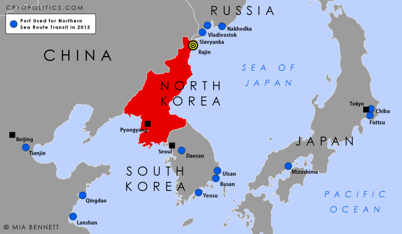 Rajin's location in relation to other ports in Northeast Asia. (Cryopolitics)