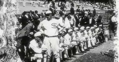 "An image of the Chicago White Sox bench. They were later referred to as the ""Black Sox,"" after a suspected game fixing scandal was confirmed the following year. (Library and Archives Canada)"