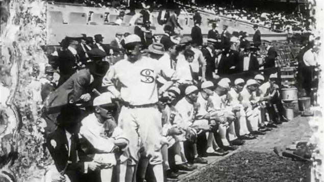 An image of the Chicago White Sox bench. They were later referred to as the