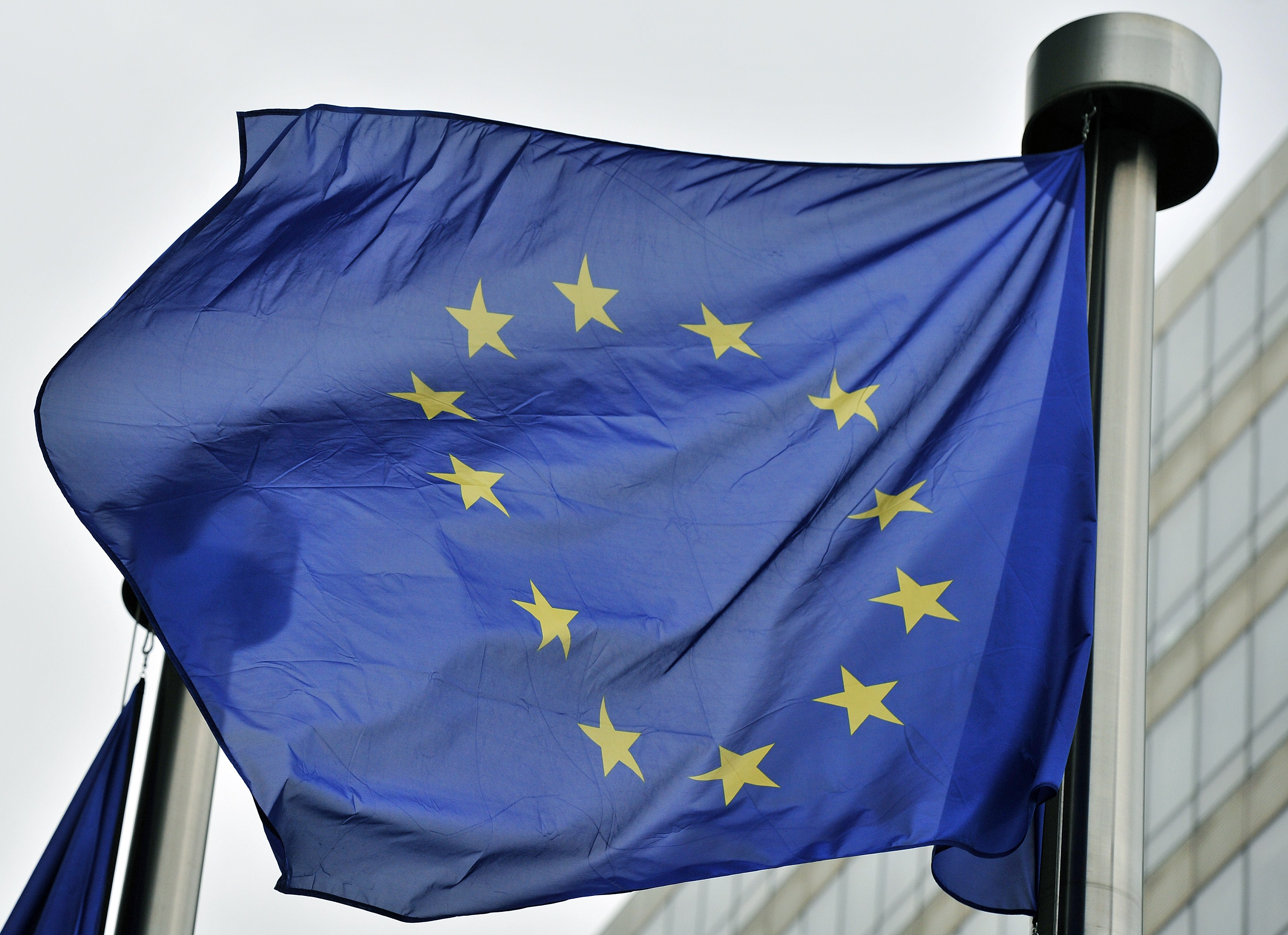 A European flag flies at the entrance of the EU Commission in Brussels on May 21,2014. (Georges Gobet/AFP/Getty Images)