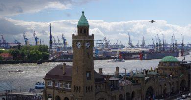 The Port of Hamburg viewed from above Landungsbrücken in 2014. (Mia Bennett)