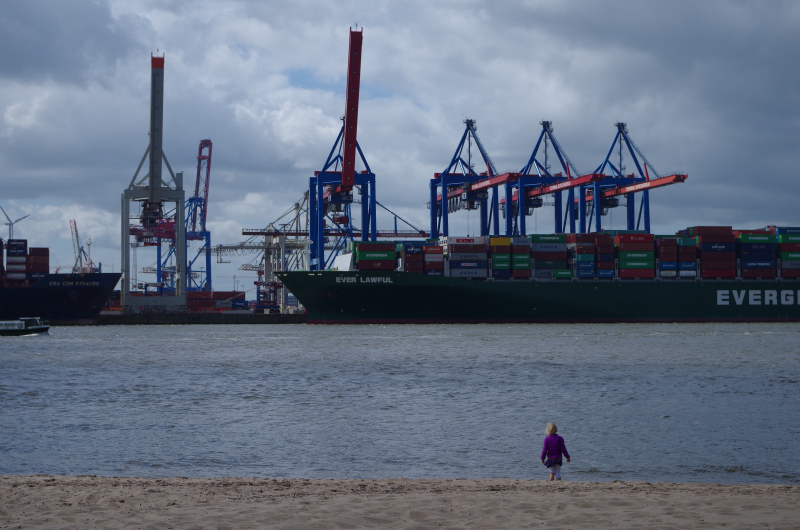 Watching the Singaporean ship Ever Lawful be unloaded in the Port of Hamburg, 2014. (Mia Bennett)