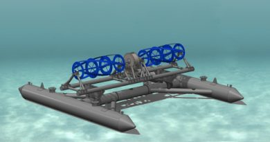 The RivGen Power System is designed for small river applications. (Courtesy ORPC)