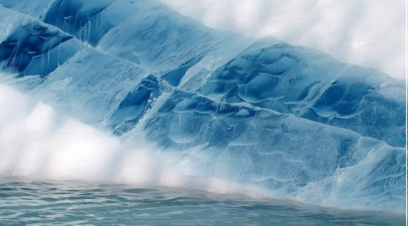 Seam of frozen melt water in an iceberg in Greenland. (iStock)