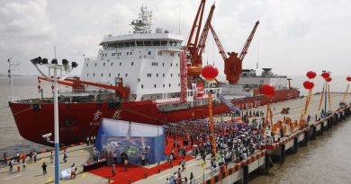 The Chinese icebreaker Xuelong harbored in Shanghai in 2012. The Xuelong is the first Chinese vessel to cross the Arctic Ocean. (Pei Xin / Xinhua / AP)