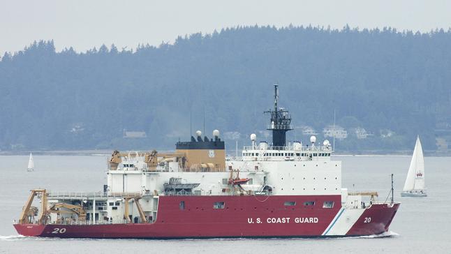 The U.S. Coast Guard icebreaker Healy. U.S. icebreaker capacity in the Arctic falls far behind other circumpolar nations. (Ted S. Warren/ AP)