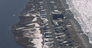 Village of Shaktoolik, Alaska, shown in May 28, 2006. Climate change is causing erosion and other environmental challenges for Alaska communities like this one. (/Al Grillo / AP Photo / File)