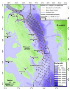 A five-year 2D seismic testing plan for oil and gas has been approved in the cross-hatched area of Baffin Bay and Davis Strait.in an area outside the 12 nautical mile boundary (National Energy Board / Radio Canada International)