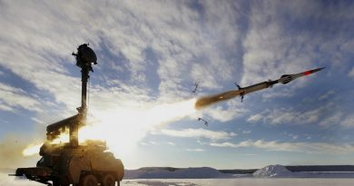 The Swedish Bamse air defence system fires an anti-aircraft missile. Photo courtesy of Saab Group