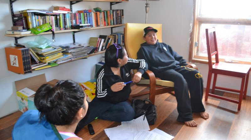 Talia Metuq (seated), with actor Jaden Ishulutaq, working on a script for video game audio. Metuq received a scholarship this year to study 3D modeling animation and design in Vancouver. (Courtesy Pinnguaq)