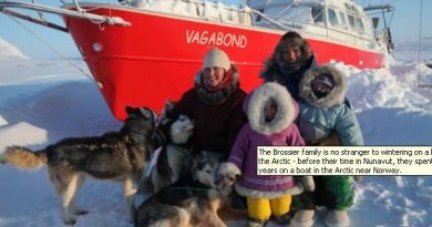 The Brossier family is no stranger to wintering on a boat in the Arctic - before their time in Nunavut, they spent five years on a boat in the Arctic near Norway. (Photo courtesy Eric Brossier) CBC.ca