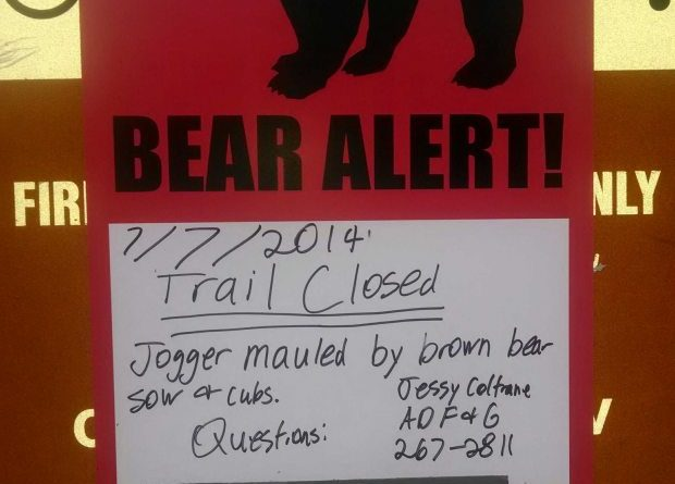 A sign hangs at the Bird Valley trailhead along Alaska's Turnagain Arm on July 7, 2014, warning people of a recent bear mauling in the area. (Craig Medred / Alaska Dispatch)