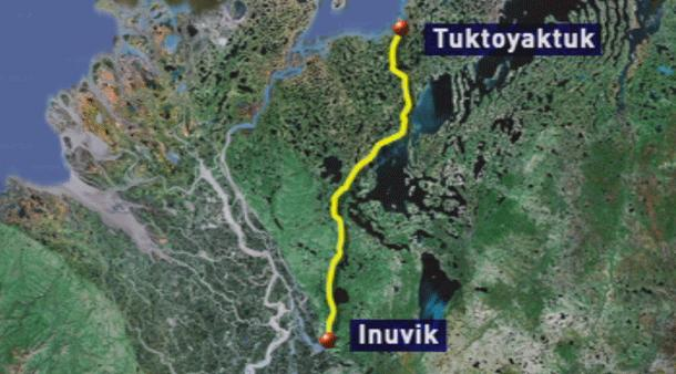 The all-weather road will stretch 140 kilometres from Inuvik to Tuktoyaktuk, N.W.T. (CBC)
