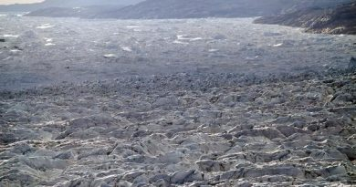 In this July 19, 2011 file photo, rows of pressure ridges stack up, foreground, before tumbling over the ever-collapsing wide front of Jakobshavn Glacier and into the Ilulissat ice fjord, background, in Greenland. (AP Photo/Brennan Linsley, File)