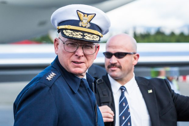 Former U.S. Coast Guard Commandant Admiral Robert Papp, shown in this August, 2012, file photo at Ted Stevens Anchorage International Airport, was tapped Wednesday by Secretary of State John Kerry to be the nation's top diplomat to the Arctic region.