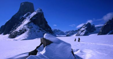Mount Asgard, a 2,000 metre peak in Auyuittuq National Park on Baffin Island. Charges have been dropped against three international climbers who BASE jumped off Mount Asgard and made an acclaimed film about it. (Getty Images )