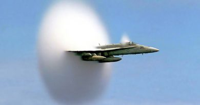 A U.S. military aircraft breaks the sound barrier in the skies over the Pacific Ocean. (John Gay/ Wikimedia Commons)